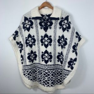 Gap; Half Zip Fluffy Knit Pancho Sweater